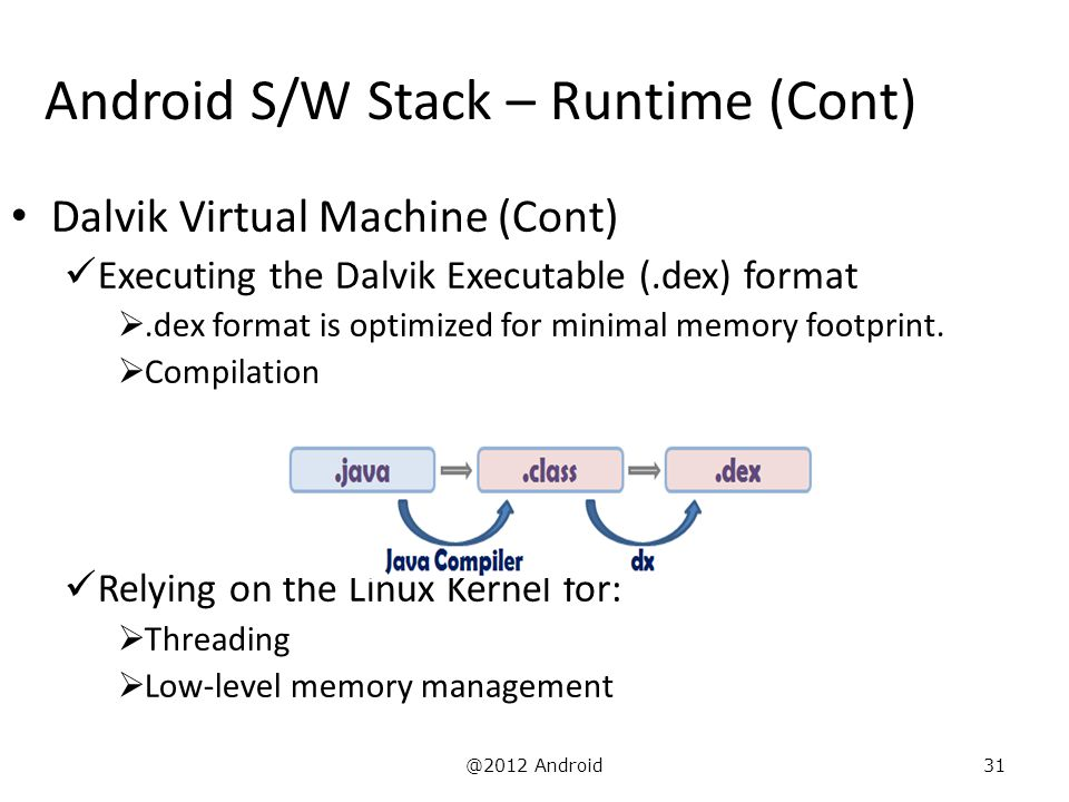 @2012 Android31 Android S/W Stack – Runtime (Cont) Dalvik Virtual Machine (Cont) Executing the Dalvik Executable (.dex) format .dex format is optimiz