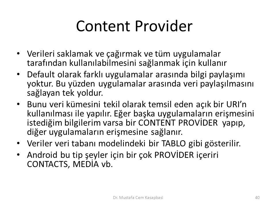 Content Provider Verileri saklamak ve çağırmak ve tüm uygulamalar tarafından kullanılabilmesini sağlanmak için kullanır Default olarak farklı uygulama