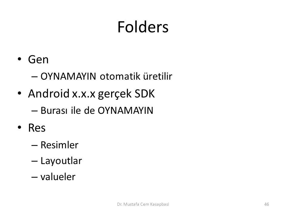 Folders Gen – OYNAMAYIN otomatik üretilir Android x.x.x gerçek SDK – Burası ile de OYNAMAYIN Res – Resimler – Layoutlar – valueler Dr. Mustafa Cem Kas