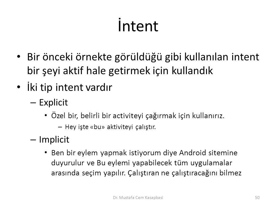 İntent Bir önceki örnekte görüldüğü gibi kullanılan intent bir şeyi aktif hale getirmek için kullandık İki tip intent vardır – Explicit Özel bir, beli