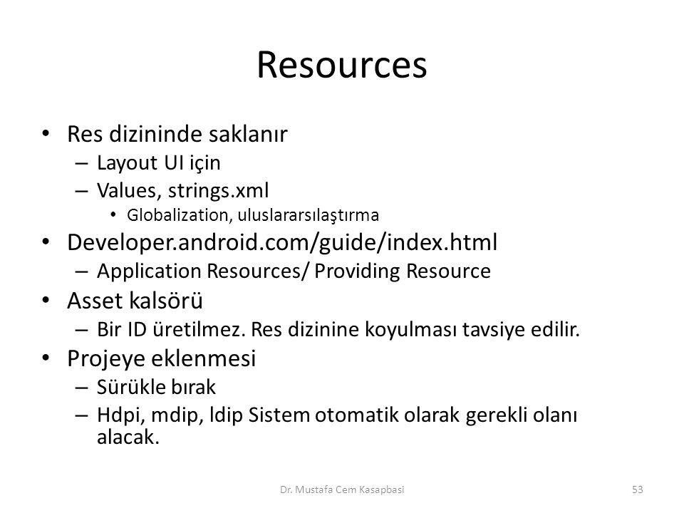 Resources Res dizininde saklanır – Layout UI için – Values, strings.xml Globalization, uluslararsılaştırma Developer.android.com/guide/index.html – Ap