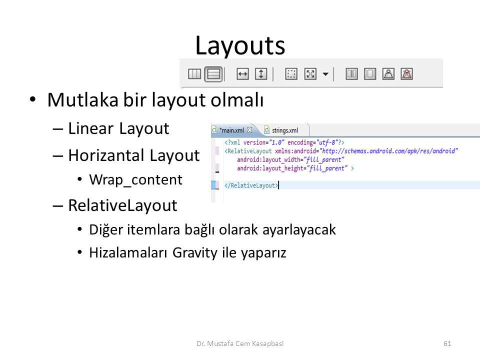 Layouts Mutlaka bir layout olmalı – Linear Layout – Horizantal Layout Wrap_content – RelativeLayout Diğer itemlara bağlı olarak ayarlayacak Hizalamaları Gravity ile yaparız Dr.