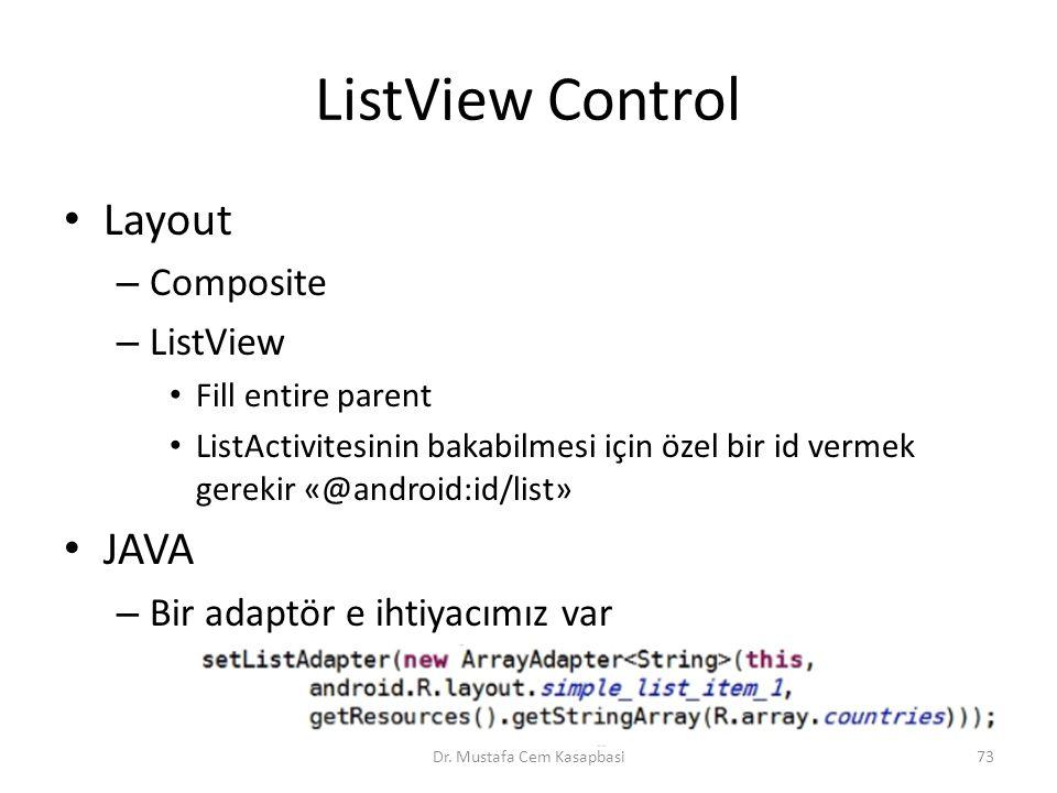ListView Control Layout – Composite – ListView Fill entire parent ListActivitesinin bakabilmesi için özel bir id vermek gerekir «@android:id/list» JAV
