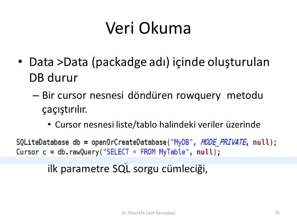 Veri Okuma Data >Data (packadge adı) içinde oluşturulan DB durur – Bir cursor nesnesi döndüren rowquery metodu çaçıştırılır. Cursor nesnesi liste/tabl