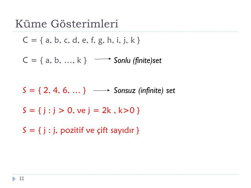 Küme Gösterimleri C = { a, b, c, d, e, f, g, h, i, j, k } C = { a, b, …, k } Sonlu (finite)set S = { 2, 4, 6, … } Sonsuz (infinite) set S = { j : j >