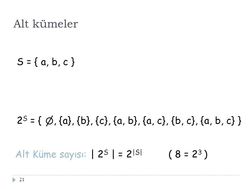21 Alt kümeler S = { a, b, c } 2 S = {, {a}, {b}, {c}, {a, b}, {a, c}, {b, c}, {a, b, c} } Alt Küme sayısı: | 2 S | = 2 |S| ( 8 = 2 3 )