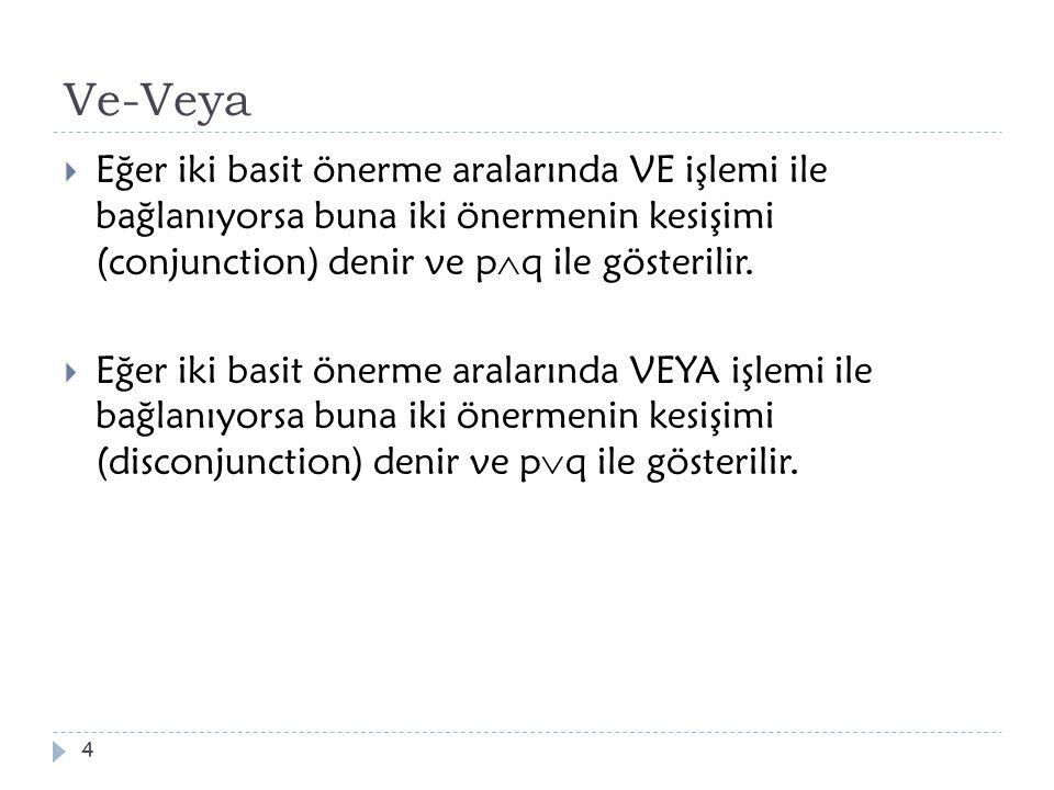 Ve-Veya  Eğer iki basit önerme aralarında VE işlemi ile bağlanıyorsa buna iki önermenin kesişimi (conjunction) denir ve p  q ile gösterilir.  Eğer