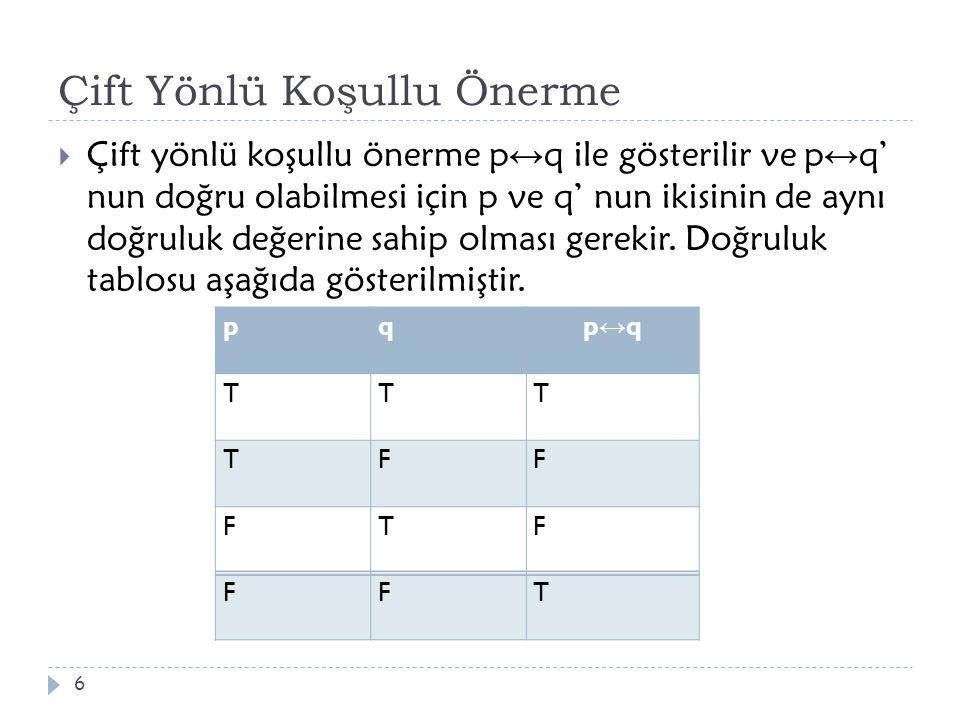 Çift Yönlü Koşullu Önerme  Çift yönlü koşullu önerme p ↔ q ile gösterilir ve p ↔ q' nun doğru olabilmesi için p ve q' nun ikisinin de aynı doğruluk d