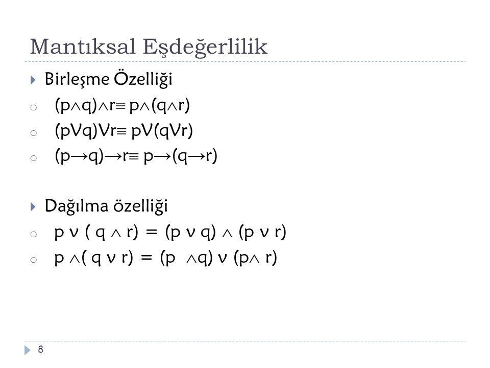 Mantıksal Eşdeğerlilik  Birleşme Özelliği o (p  q)  r  p  (q  r) o (pVq)Vr  pV(qVr) o (p → q) → r  p → (q → r)  Dağılma özelliği o p v ( q 