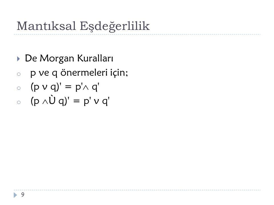 Mantıksal Eşdeğerlilik  De Morgan Kuralları o p ve q önermeleri için; o (p v q)' = p'  q' o (p  Ù q)' = p' v q' 9