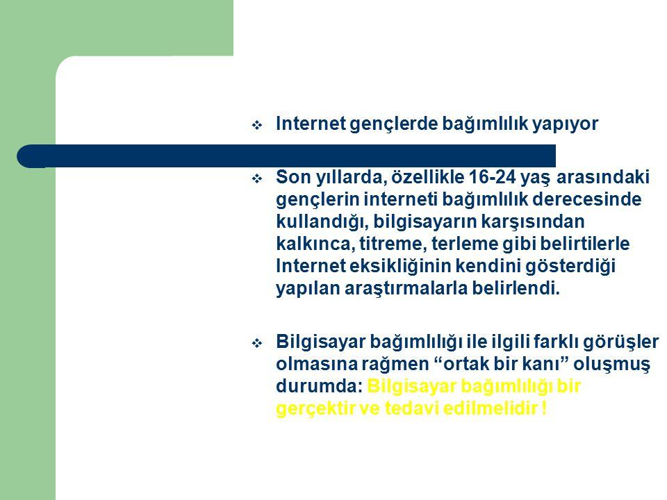 INTERNET BAĞIMLILIĞI HIZLA ARTIYOR Internet kullanımının Türkiye'de son 5 yılda % 700 oranında arttığı, Türkiye'deki kullanıcıların % 40'ının da kendini bağımlı olarak gördüğü ortaya çıktı.