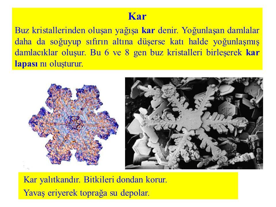 Kar Buz kristallerinden oluşan yağışa kar denir. Yoğunlaşan damlalar daha da soğuyup sıfırın altına düşerse katı halde yoğunlaşmış damlacıklar oluşur.