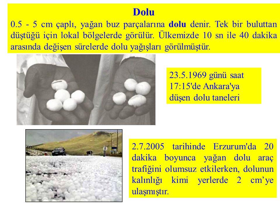 Dolu 0.5 - 5 cm çaplı, yağan buz parçalarına dolu denir. Tek bir buluttan düştüğü için lokal bölgelerde görülür. Ülkemizde 10 sn ile 40 dakika arasınd
