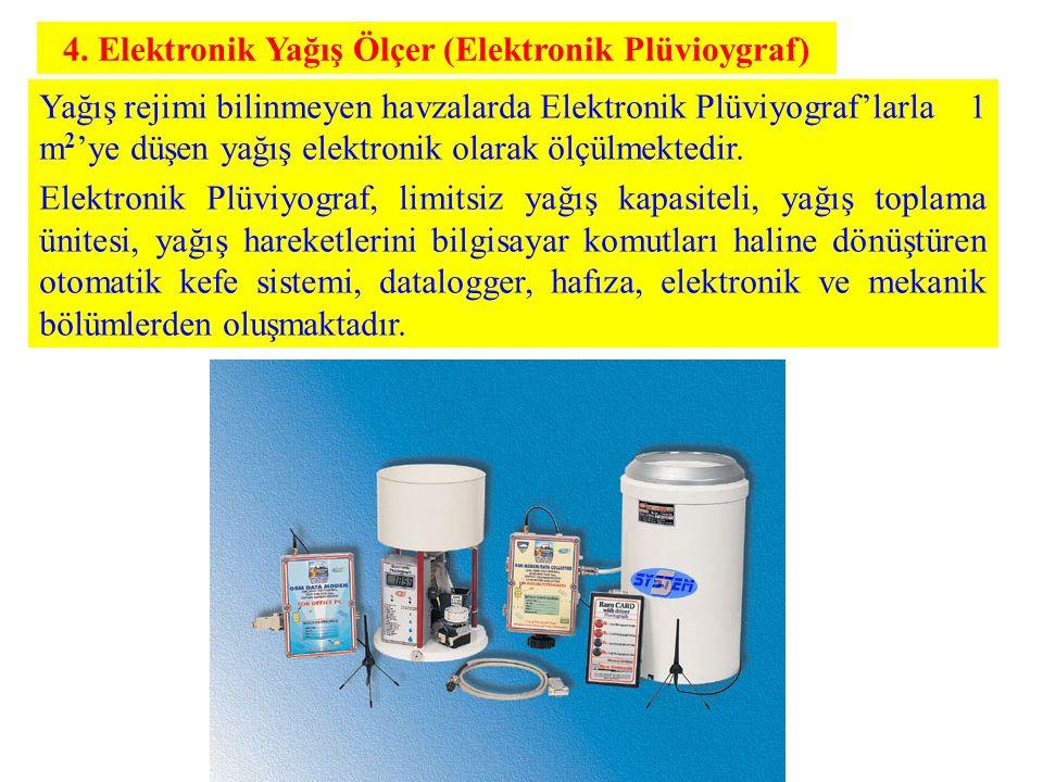 4. Elektronik Yağış Ölçer (Elektronik Plüvioygraf) Yağış rejimi bilinmeyen havzalarda Elektronik Plüviyograf'larla 1 m 2 'ye düşen yağış elektronik ol