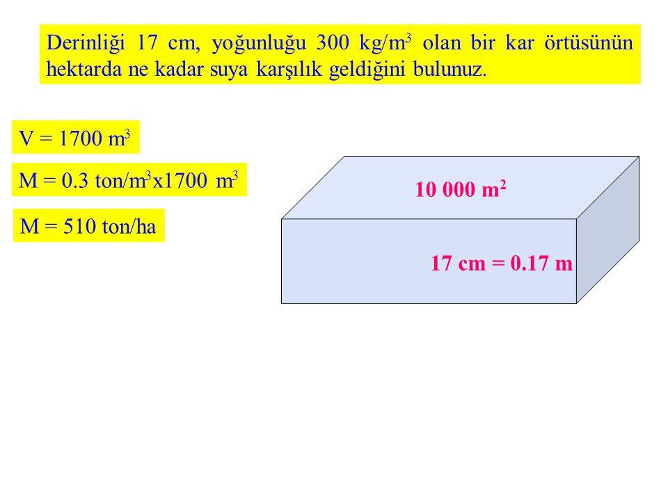 Derinliği 17 cm, yoğunluğu 300 kg/m 3 olan bir kar örtüsünün hektarda ne kadar suya karşılık geldiğini bulunuz. 10 000 m 2 17 cm = 0.17 m V = 1700 m 3