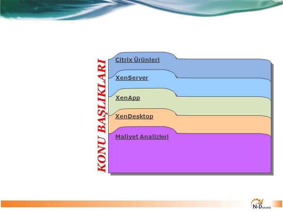 XenServer XenApp XenDesktop Maliyet Analizleri Citrix Ürünleri KONU BAŞLIKLARI