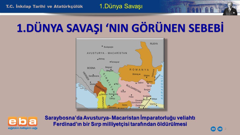 T.C. İnkılap Tarihi ve Atatürkçülük 2 1.Dünya Savaşı Saraybosna'da Avusturya- Macaristan İmparatorluğu veliahtı Ferdinad'ın bir Sırp milliyetçisi tara