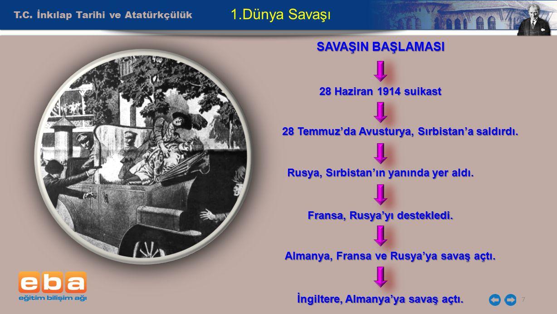 T.C. İnkılap Tarihi ve Atatürkçülük 7 1.Dünya Savaşı SAVAŞIN BAŞLAMASI 28 Haziran 1914 suikast 28 Temmuz'da Avusturya, Sırbistan'a saldırdı. Rusya, Sı