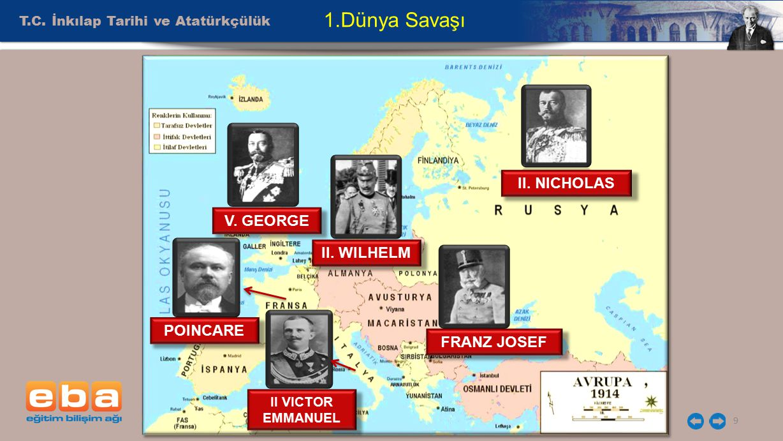 T.C. İnkılap Tarihi ve Atatürkçülük 9 1.Dünya Savaşı V. GEORGE II. WILHELM FRANZ JOSEF POINCARE II VICTOR EMMANUEL II. NICHOLAS