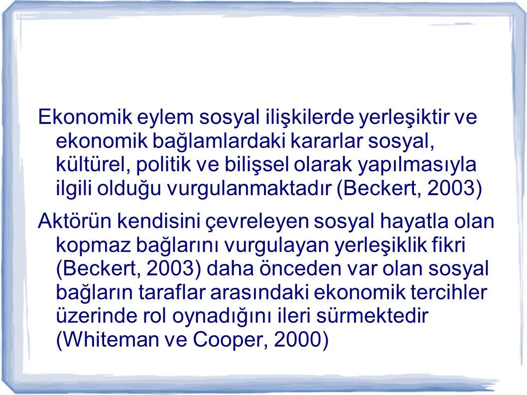 Ekonomik eylem sosyal ilişkilerde yerleşiktir ve ekonomik bağlamlardaki kararlar sosyal, kültürel, politik ve bilişsel olarak yapılmasıyla ilgili oldu
