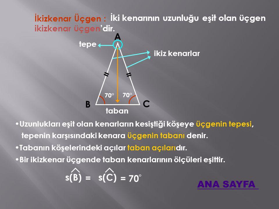 İkizkenar Üçgen : İki kenarının uzunluğu eşit olan üçgen A B C Uzunlukları eşit olan kenarların kesiştiği köşeye üçgenin tepesi, ikizkenar üçgen'dir.
