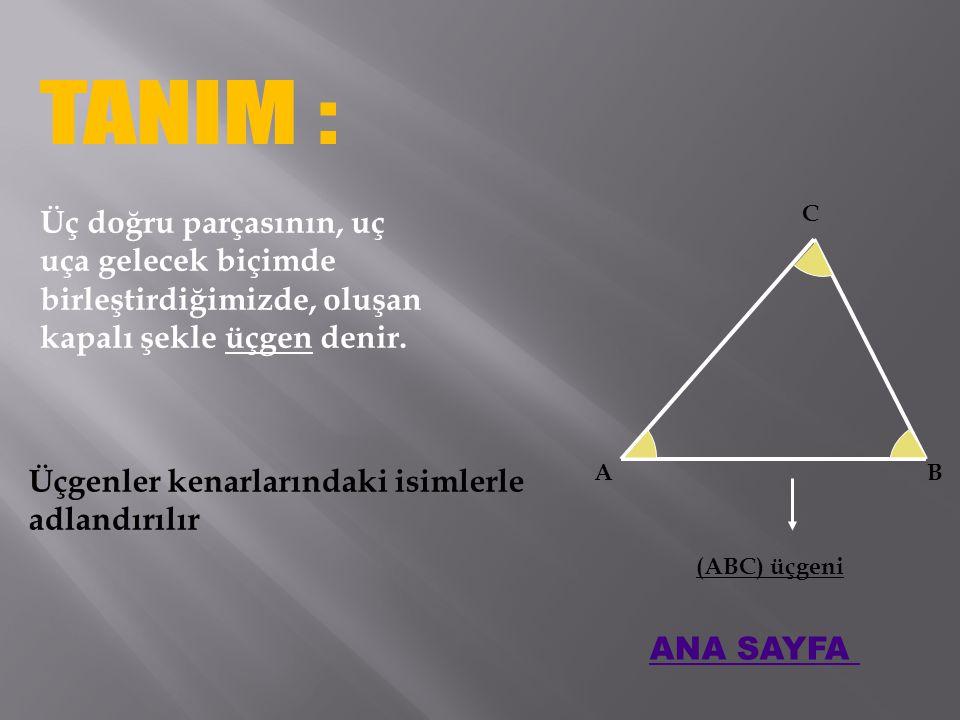 Üç doğru parçasının, uç uça gelecek biçimde birleştirdiğimizde, oluşan kapalı şekle üçgen denir.