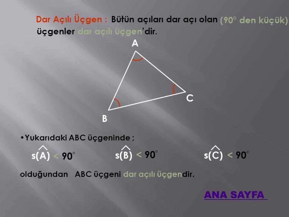 Dar Açılı Üçgen : Bütün açıları dar açı olan A B C Yukarıdaki ABC üçgeninde ; (90° den küçük) üçgenler dar açılı üçgen'dir.