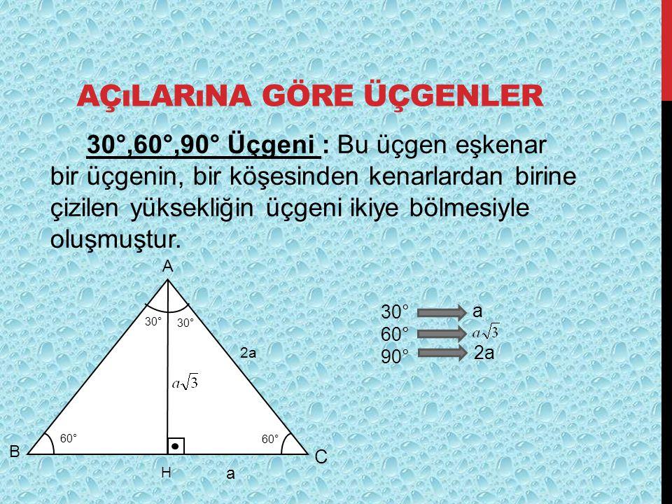 AÇıLARıNA GÖRE ÜÇGENLER 30°,60°,90° Üçgeni : Bu üçgen eşkenar bir üçgenin, bir köşesinden kenarlardan birine çizilen yüksekliğin üçgeni ikiye bölmesiy