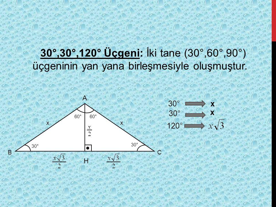 30°,30°,120° Üçgeni: İki tane (30°,60°,90°) üçgeninin yan yana birleşmesiyle oluşmuştur. 30° 60° 30° 60° xx B C A 30° 120° 30° x x H