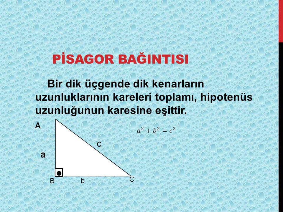 PİSAGOR BAĞINTISI Bir dik üçgende dik kenarların uzunluklarının kareleri toplamı, hipotenüs uzunluğunun karesine eşittir. A a B C ● c b