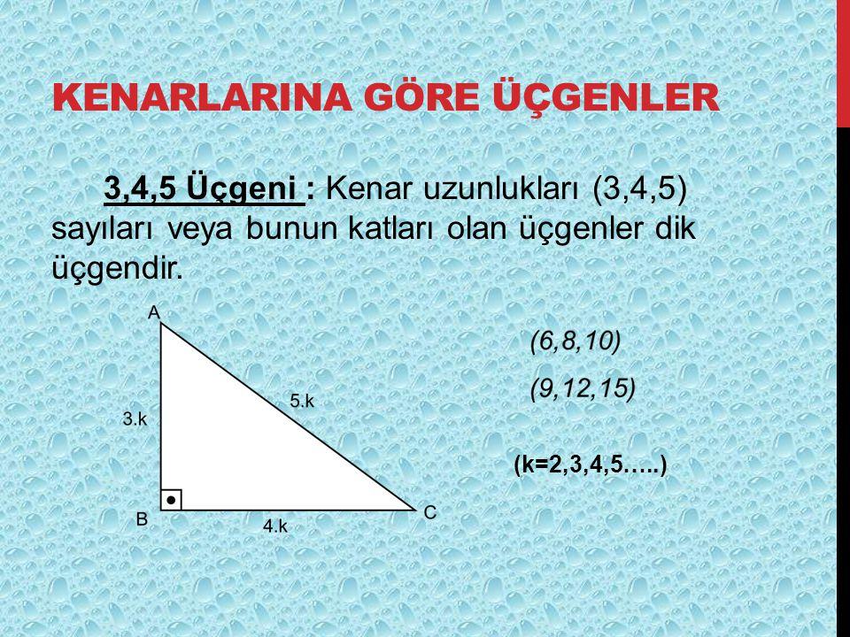 KENARLARINA GÖRE ÜÇGENLER 3,4,5 Üçgeni : Kenar uzunlukları (3,4,5) sayıları veya bunun katları olan üçgenler dik üçgendir. (k=2,3,4,5…..)
