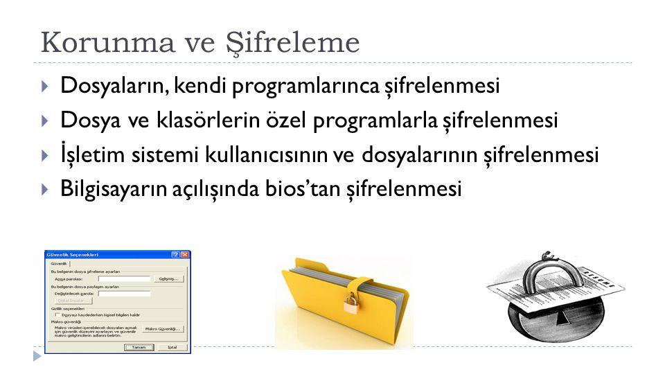Korunma ve Şifreleme  Dosyaların, kendi programlarınca şifrelenmesi  Dosya ve klasörlerin özel programlarla şifrelenmesi  İ şletim sistemi kullanıc