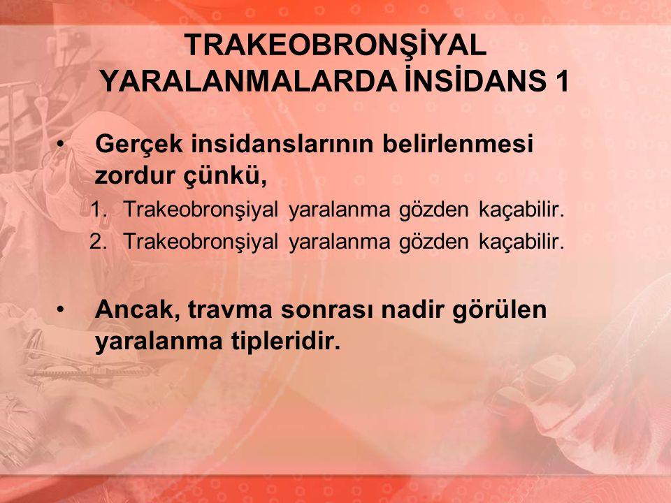 TRAKEOBRONŞİYAL YARALANMALARDA İNSİDANS 1 Gerçek insidanslarının belirlenmesi zordur çünkü, 1.Trakeobronşiyal yaralanma gözden kaçabilir. 2.Trakeobron