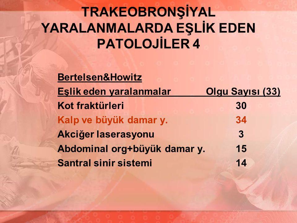 TRAKEOBRONŞİYAL YARALANMALARDA EŞLİK EDEN PATOLOJİLER 4 Bertelsen&Howitz Eşlik eden yaralanmalarOlgu Sayısı (33) Kot fraktürleri30 Kalp ve büyük damar