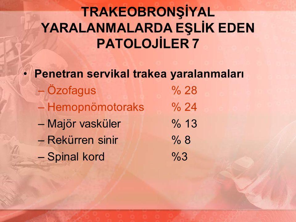 TRAKEOBRONŞİYAL YARALANMALARDA EŞLİK EDEN PATOLOJİLER 7 Penetran servikal trakea yaralanmaları –Özofagus% 28 –Hemopnömotoraks% 24 –Majör vasküler % 13