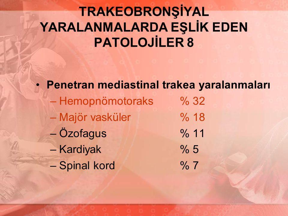 TRAKEOBRONŞİYAL YARALANMALARDA EŞLİK EDEN PATOLOJİLER 8 Penetran mediastinal trakea yaralanmaları –Hemopnömotoraks% 32 –Majör vasküler% 18 –Özofagus%