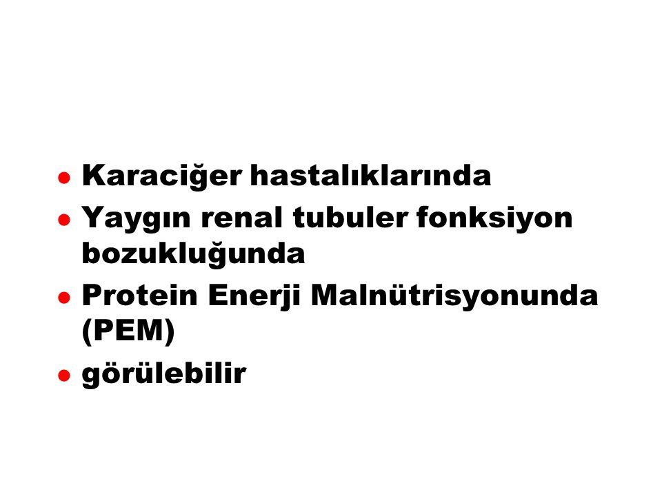 Hiperfenilalaninemiler ve FKU l Tip 1, klasik FKÜ l Tip 2, varyant FKÜ l Tip 3 Yenidoğan geçici hiperfenilalaninemisi l Tip 4 l Tip 5 l Tirozinemiler l FA hidroksilaz yok l FA hidroksilaz  l DHB redüktaz yok/  l Biopterin sentezinde bozukluk l Çeşitli