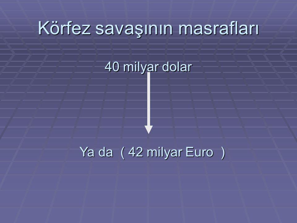 Körfez savaşının masrafları 40 milyar dolar Ya da ( 42 milyar Euro )