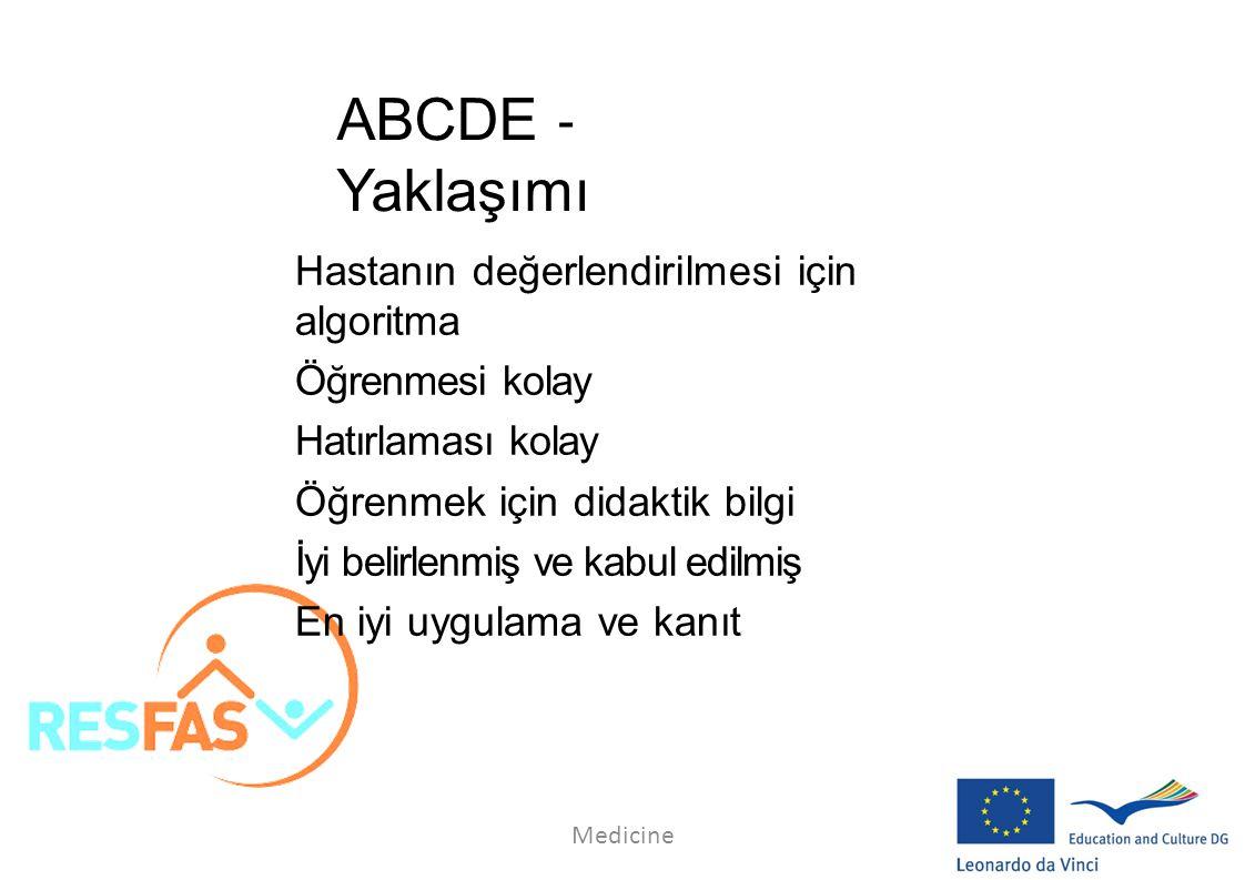 ABCDE ‐ Yaklaşımı Hastanın değerlendirilmesi için algoritma Öğrenmesi kolay Hatırlaması kolay Öğrenmek için didaktik bilgi İyi belirlenmiş ve kabul ed