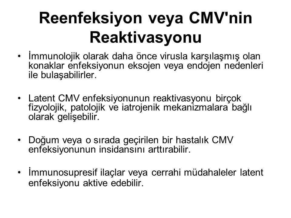 Reenfeksiyon veya CMV'nin Reaktivasyonu İmmunolojik olarak daha önce virusla karşılaşmış olan konaklar enfeksiyonun eksojen veya endojen nedenleri ile