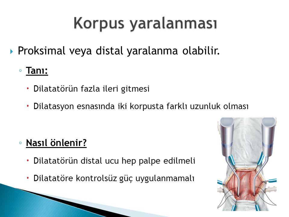  Proksimal veya distal yaralanma olabilir. ◦ Tanı:  Dilatatörün fazla ileri gitmesi  Dilatasyon esnasında iki korpusta farklı uzunluk olması ◦ Nası