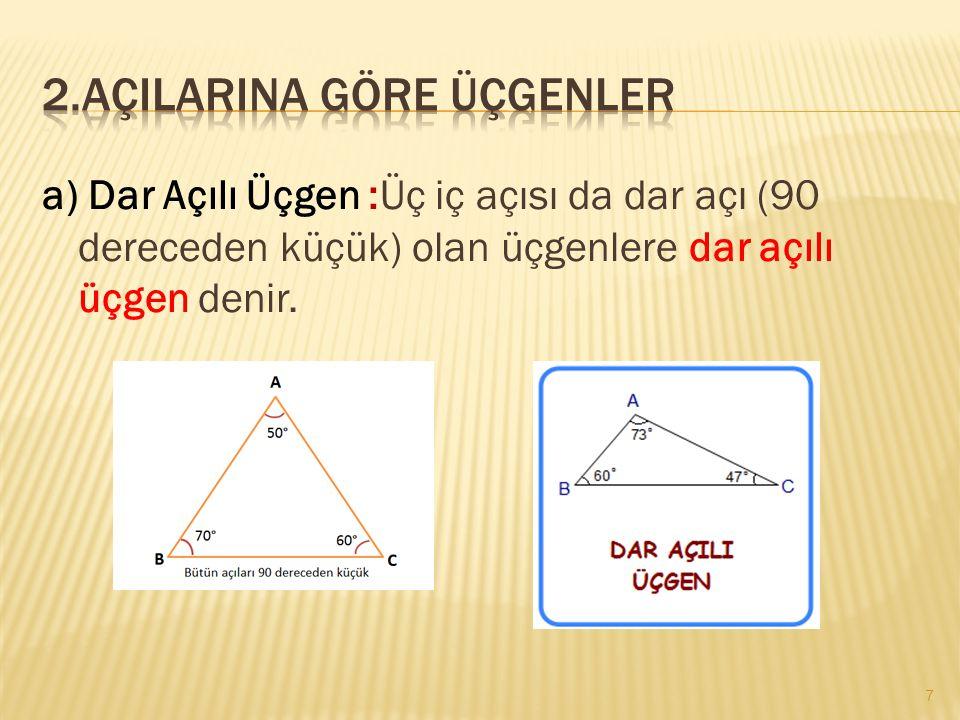 a) Dar Açılı Üçgen :Üç iç açısı da dar açı (90 dereceden küçük) olan üçgenlere dar açılı üçgen denir. 7