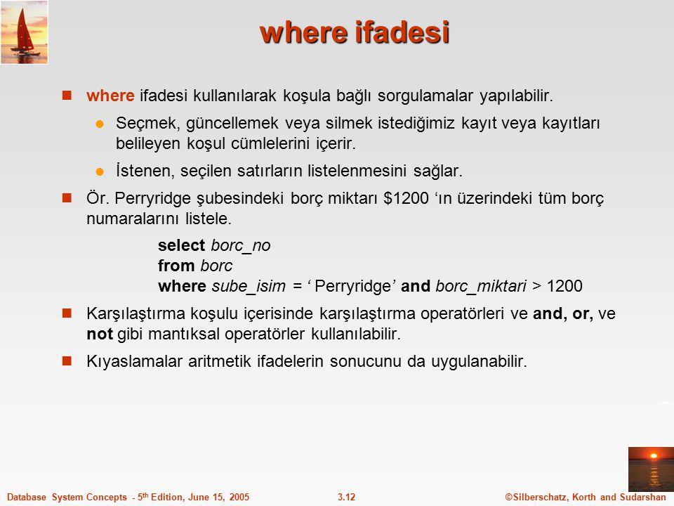 ©Silberschatz, Korth and Sudarshan3.12Database System Concepts - 5 th Edition, June 15, 2005 where ifadesi where ifadesi kullanılarak koşula bağlı sor
