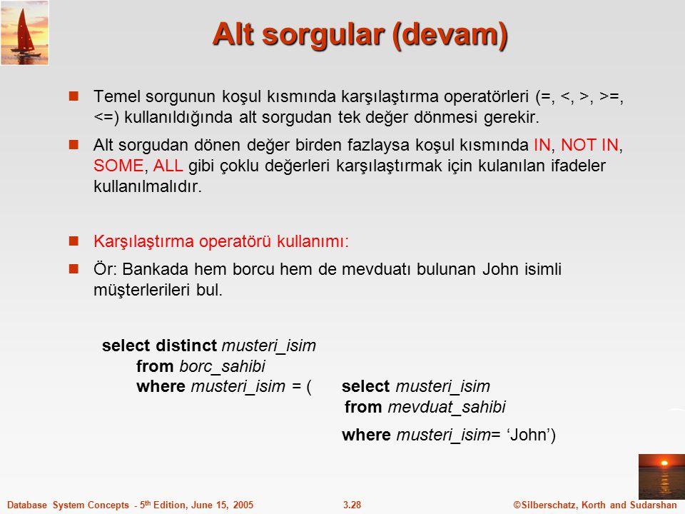 ©Silberschatz, Korth and Sudarshan3.28Database System Concepts - 5 th Edition, June 15, 2005 Alt sorgular (devam) Temel sorgunun koşul kısmında karşıl