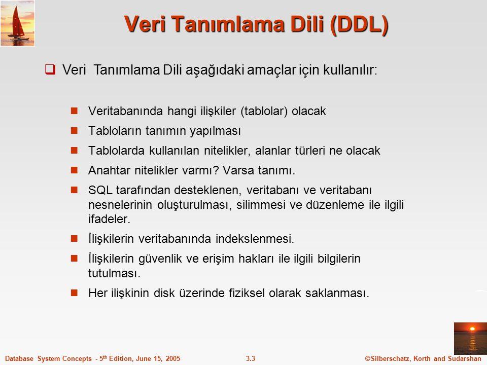©Silberschatz, Korth and Sudarshan3.3Database System Concepts - 5 th Edition, June 15, 2005 Veri Tanımlama Dili (DDL) Veritabanında hangi ilişkiler (t
