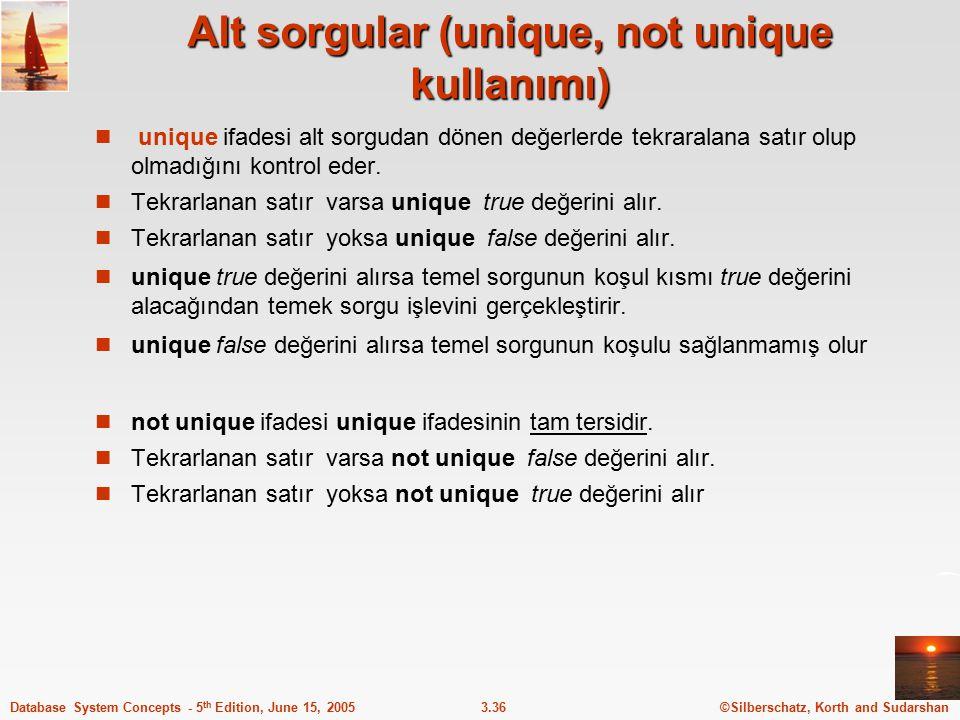 ©Silberschatz, Korth and Sudarshan3.36Database System Concepts - 5 th Edition, June 15, 2005 Alt sorgular (unique, not unique kullanımı) unique ifades