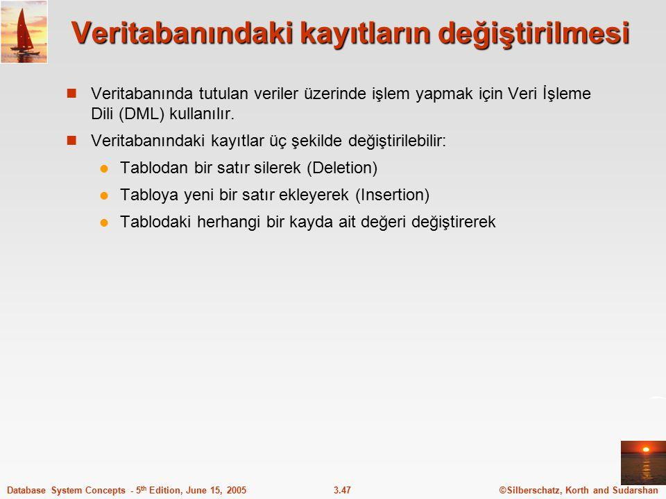 ©Silberschatz, Korth and Sudarshan3.47Database System Concepts - 5 th Edition, June 15, 2005 Veritabanındaki kayıtların değiştirilmesi Veritabanında t