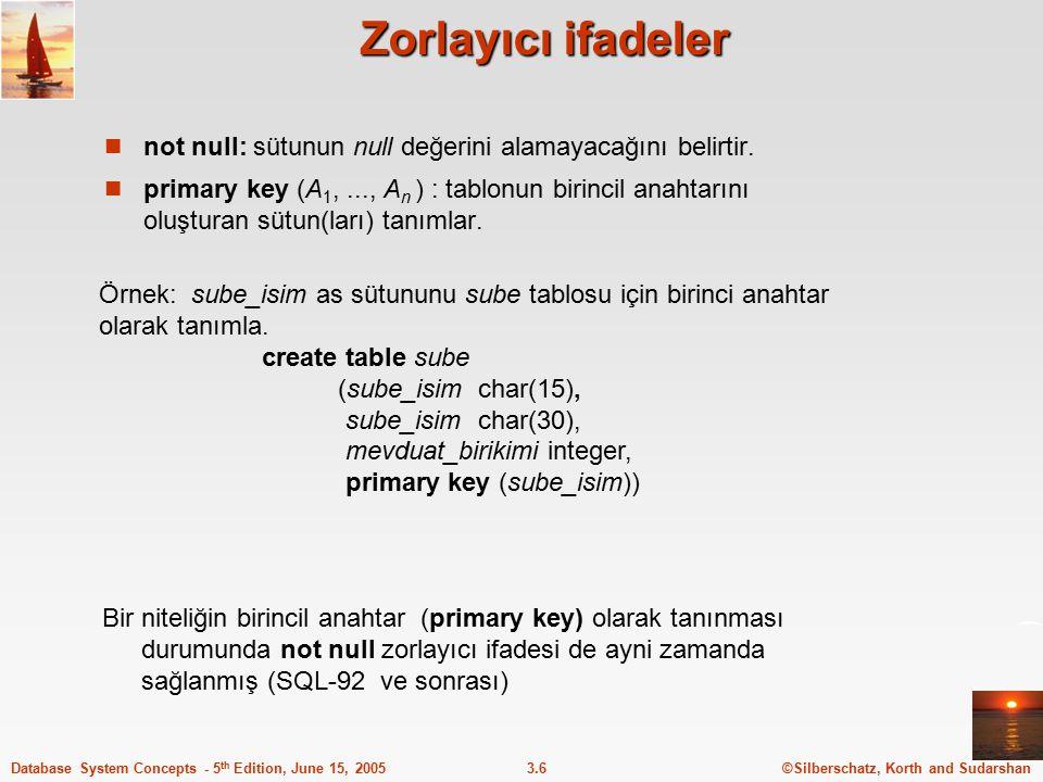 ©Silberschatz, Korth and Sudarshan3.7Database System Concepts - 5 th Edition, June 15, 2005 Drop ve Alter Table İfadeleri drop table veritabanı içerisinde kullanılan tabloların silinmesi için kullanılır alter table daha önce oluşturulmuş bir tablonun özelliğinin değiştirilmesi için kullanılır.