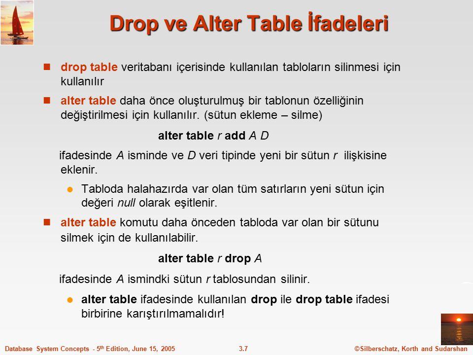 ©Silberschatz, Korth and Sudarshan3.7Database System Concepts - 5 th Edition, June 15, 2005 Drop ve Alter Table İfadeleri drop table veritabanı içeris