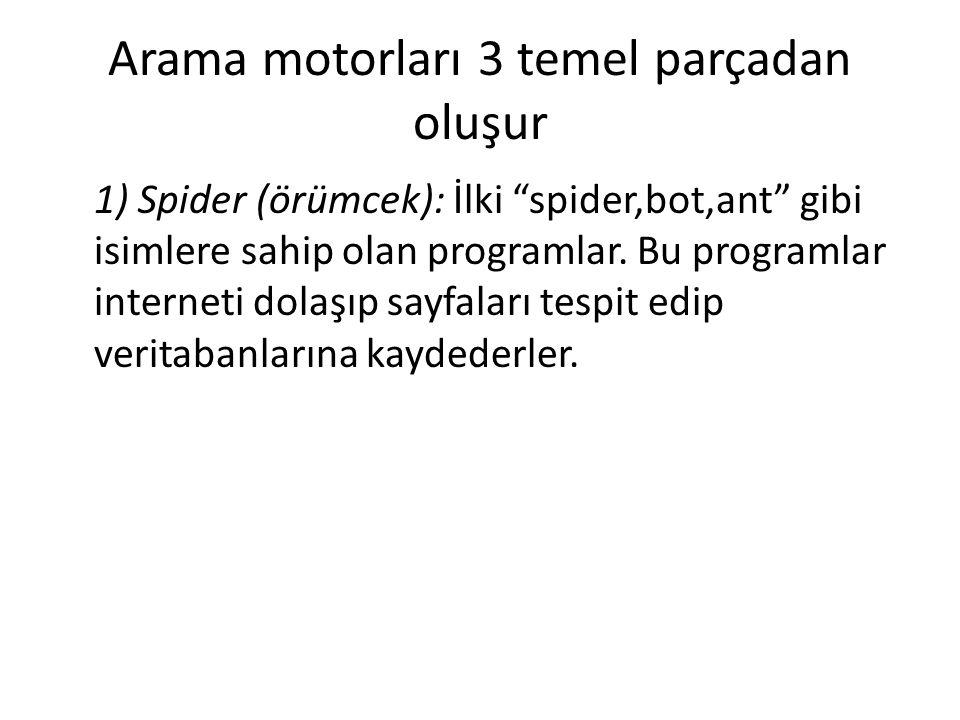 Arama motorları 3 temel parçadan oluşur 1) Spider (örümcek): İlki spider,bot,ant gibi isimlere sahip olan programlar.